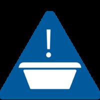 Icon of a Wash Basin Cross Contamination Warning - TENA Professional