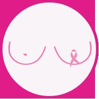 Bilde av bryster som representerer Rosa sløyfe-aksjonen og støtte til kreftforeningen