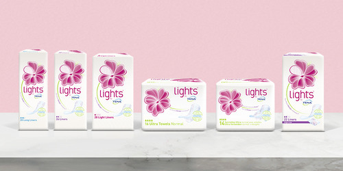 Productassortiment lights by TENA